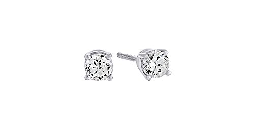 3296c98a5 10K Solid Gold Natural Diamond Solitaire Stud Earrings With Screw Back ...