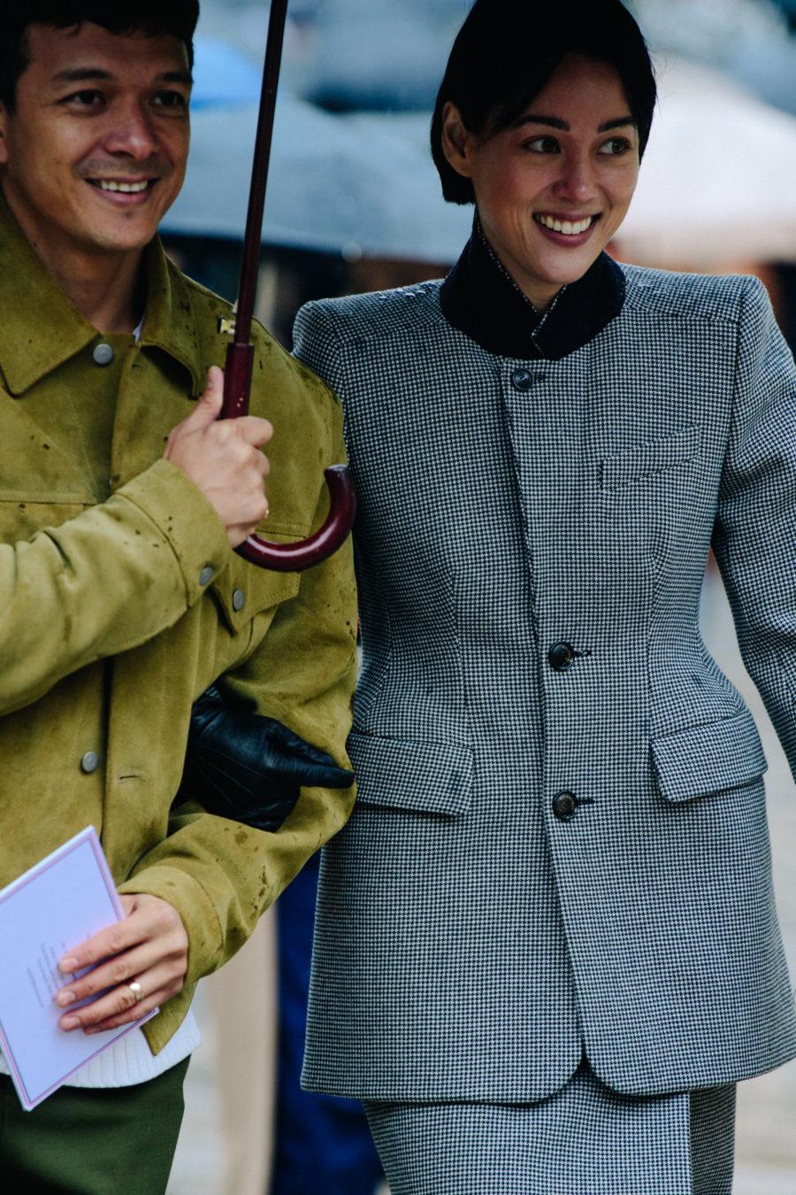Woman wearing pattern coat