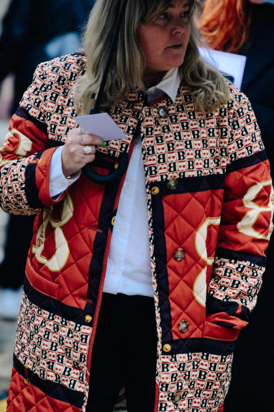 Woman wearing Burberry coat